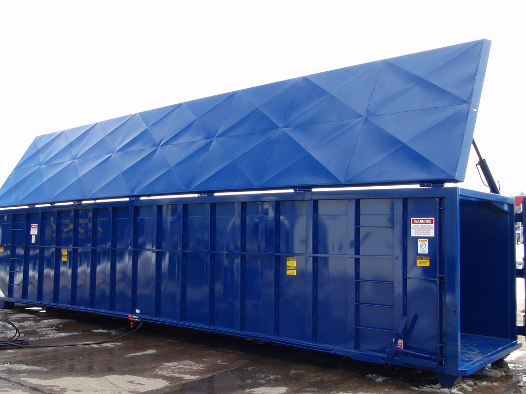 Blue steel roll off container for the waste management industry